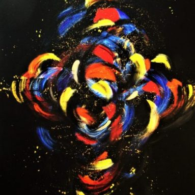 Regina Merta, URKNALL, 100 x 80 cm, Acryl auf Leinwand, WL IV/RM0234, 2017