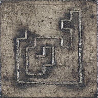 Daisy Gold, BINÄRLABYRINTH DNA, 15 x 15 cm, Öl auf Leinwand, 2019
