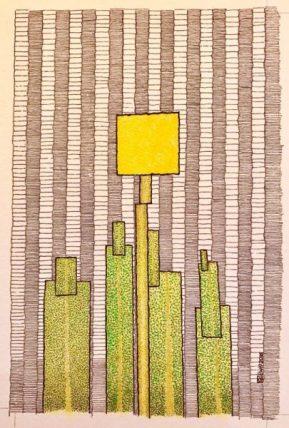 Werner Otto Egelhofer, [0056] Taraxacum abstractum, 2016, Darstellung: B 100 x H 160 mm auf ARCHES Aquarellpapier grain satiné 300g, B 180 x H 240 mm, Pointillismus mit Tusche und Farbstift