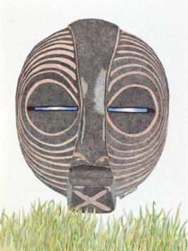 Werner Otto Egelhofer, [0074] KIFWEBE-Maske, 2017, Darstellung: B 260 x H 350 mm auf HAHNEMÜHLE Aquarellpapier 425g, B 300 x H 400 mm, Pointillismus mit Tusche