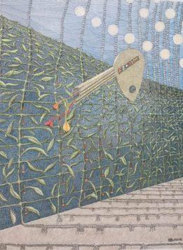 Werner Otto Egelhofer, 0095] Der neuralgische Schlüssel, 2018, Darstellung: B 240 x H 320 mm auf HAHNEMÜHLE Aquarellpapier 425g, B 300 x H 400 mm, Pointillismus mit Tusche und Farbstift